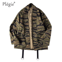 Plegie Japanese Camo Kimono Jackets Japan Style Mens Hip Hop Camouflage Casual Open Stitch Coats Streetwear Jacket Dropshipping