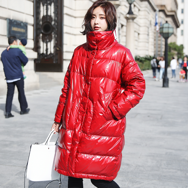 Winter Thick 90% White Duck   Down   Jacket Women Letter Print Long   Down   Parka 2019 Fashion Patent Leather Glossy Womens   Down     Coats