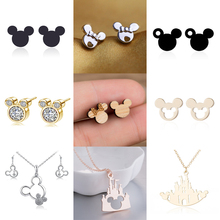 Jisensp Mickey Earrings Cartoon Stud Earring Black Stainless