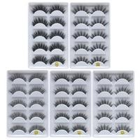 wholesale 50 set of 5 pairs False sythetic fiber eyelashes extension 3D Dramatic lashes full strip free shipping