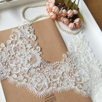 Elegant style bead cord trim 5YARDS,Sequin scalloped alencon lace trim, heavy bead cord for bridal veil, scalloped lace trimming фото