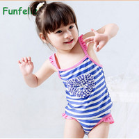 Cute girls swimsuit baby girl two pieces bating suit QUALITY kids swimwear children striped swimming costume 1-8 Years
