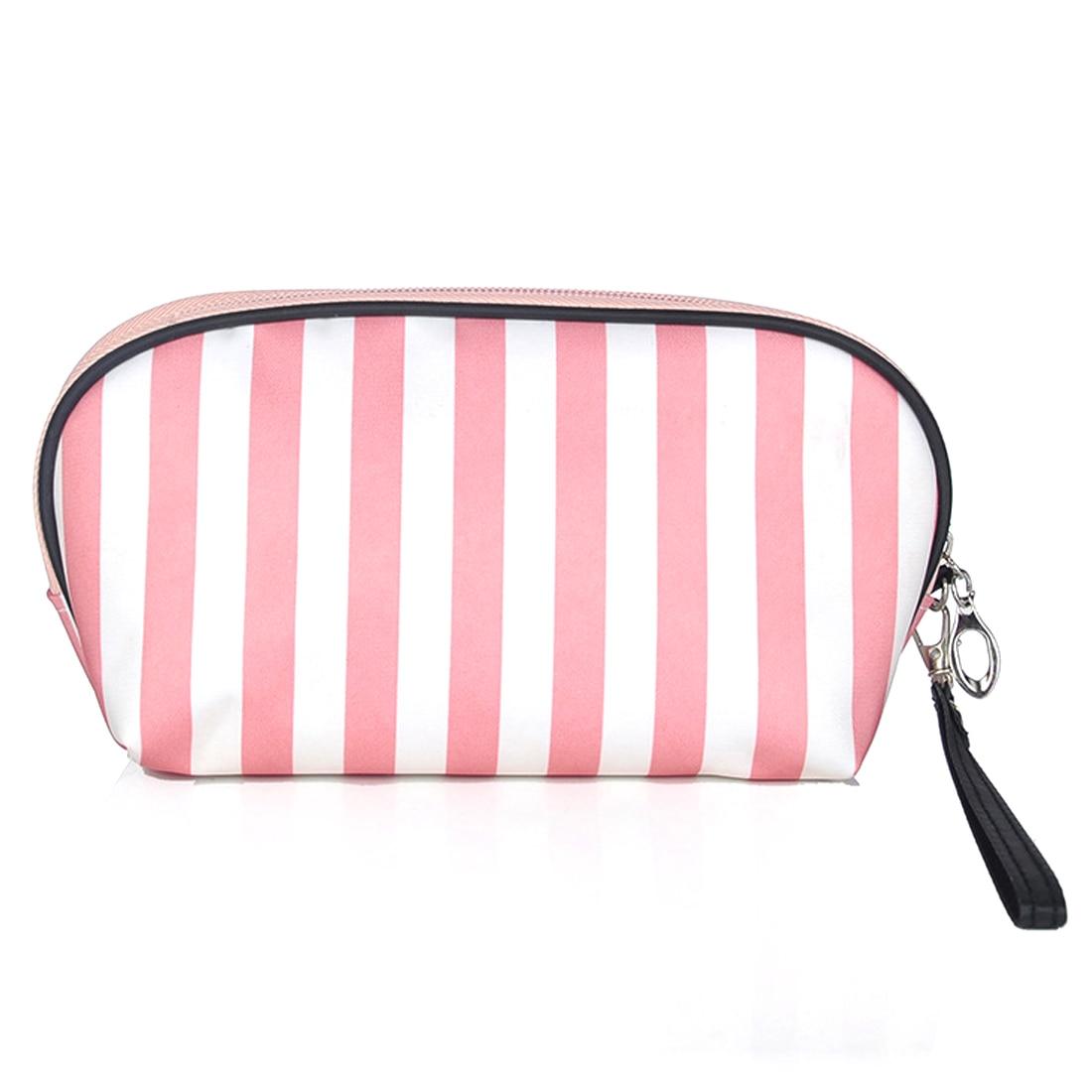 Mini Women Bag With Stripe Pattern Waterproof Semicircle Cosmetic Bag Travelling Toiletries Storage Bag Make Up Case Bag Hot Kit