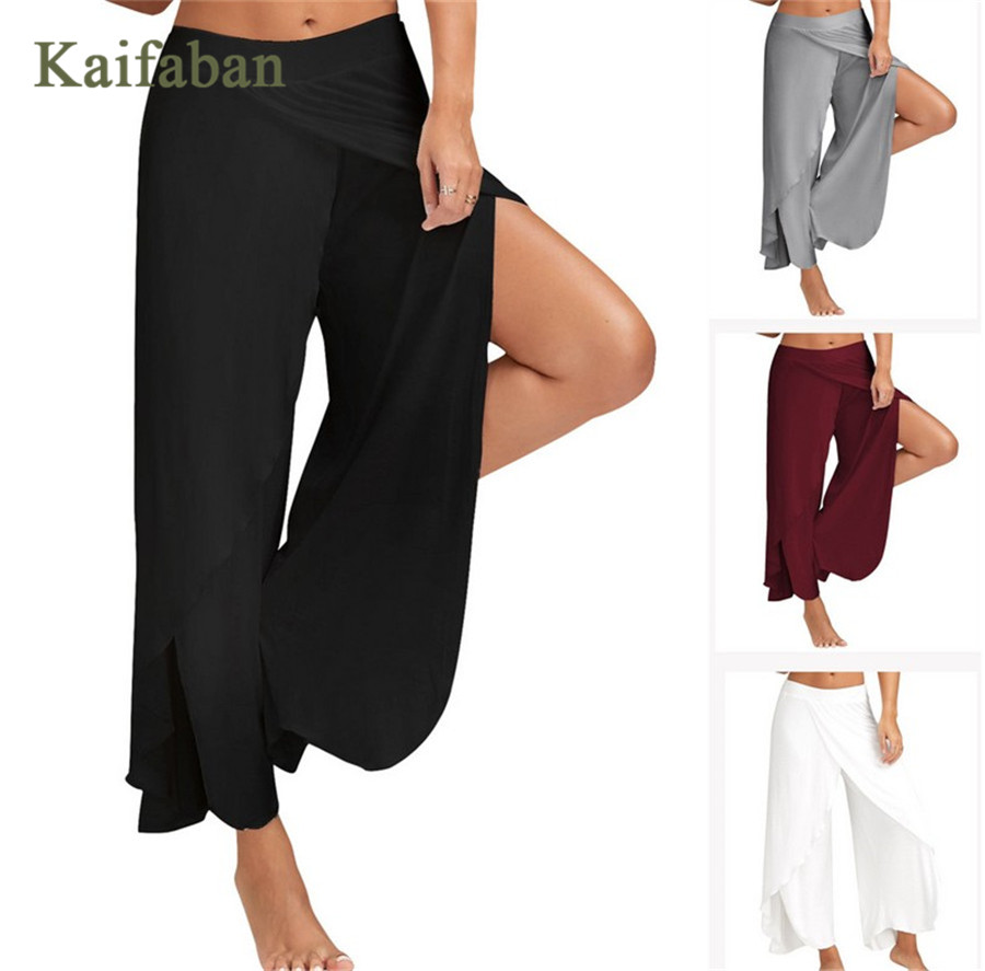 S-5XL Women Plus Size Wide Leg Yoga Pants Palazzo Split Fitness Capris Loose Casual Soft Bottoms Black White Dance Sports Wear