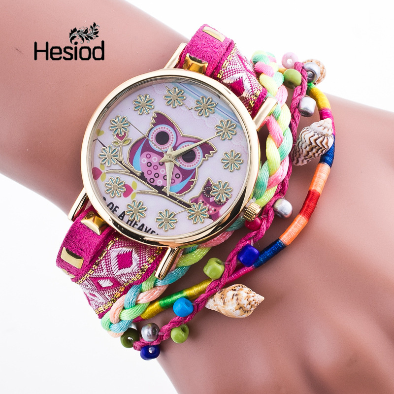 Hesiod Owl Watch Rope Strap Fashion Watch Handmade Bohemia Geneva PU Leather Beads Dress Watches