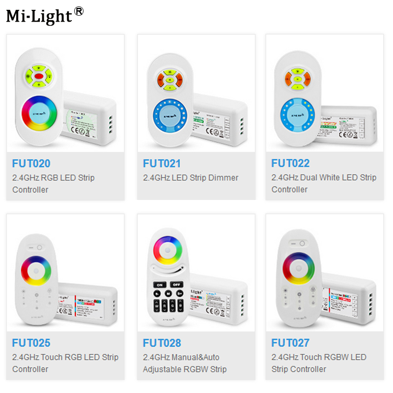 Miboxer 2.4G FUT020/FUT021/FUT022/FUT025/FUT027/<font><b>FUT028</b></font> LED Strip Dimmer Touch Dual White/RGB/RGBW LED Strip Controller image