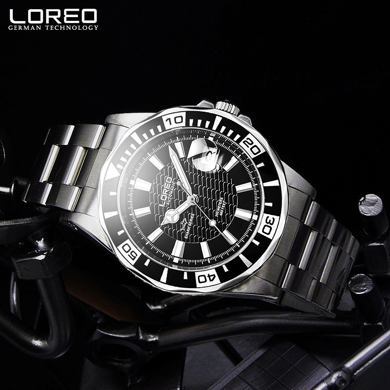 LOREO Design Watches Stainless Steel Automatic Mechanical Watch Men Diver Watch 200M Waterproof Auto Date Luminous Watch AB2077