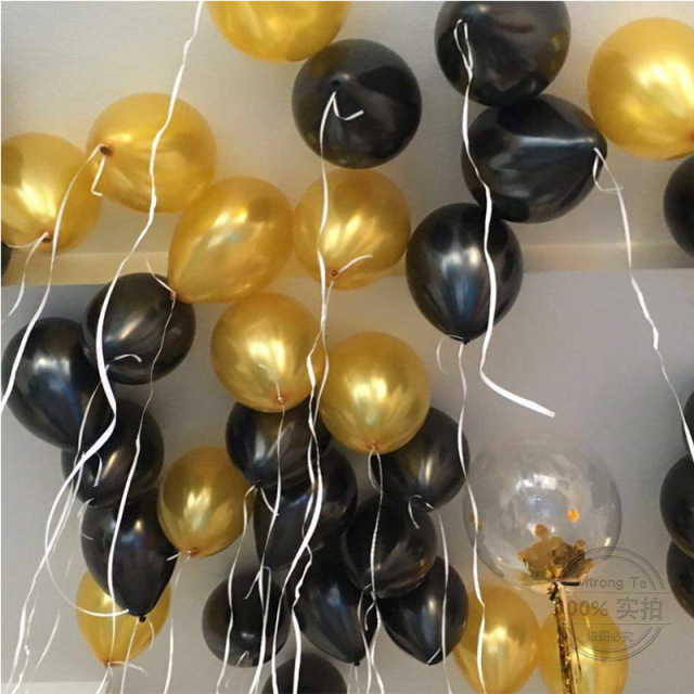 50pcs 12inch Metallic Pearl Gold Black Latex Balloons 3 2g Wedding Birthday Party Anniversary Decoration Balloon
