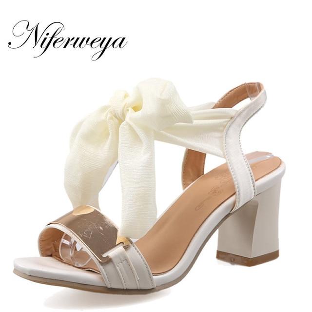 52858df26 € 24.53 10% de réduction|Nouveau été femmes pompes sexy Peep Toe Riband  sandales à lacets grande taille 31 47 rouge talon épais chaussures à ...