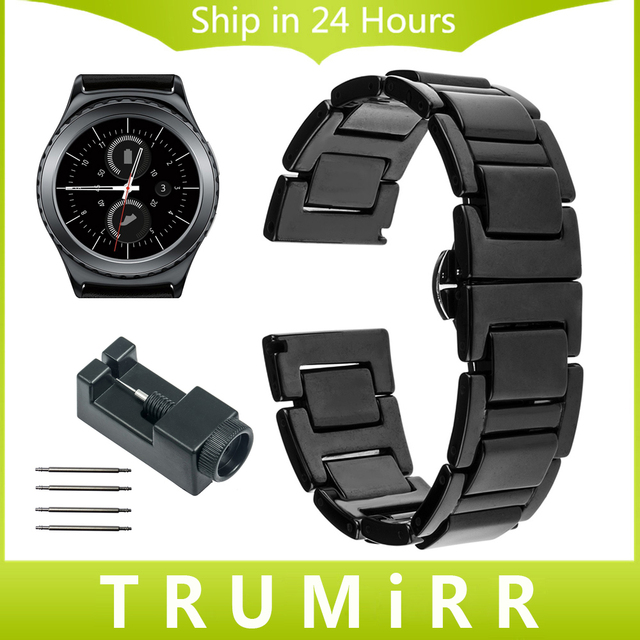 20mm Full Ceramic Strap for Samsung Gear S2 Classic (SM-R7320) Moto 360 2 42mm Men Watch Band Butterfly Buckle Bracelet + Tools