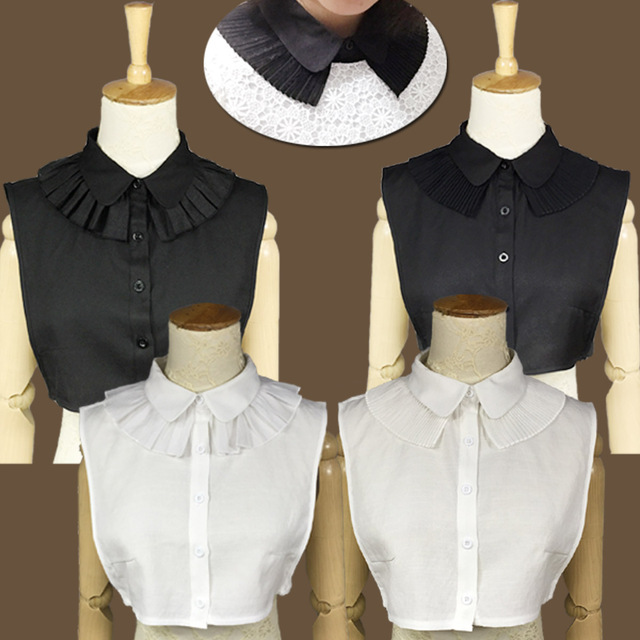 d1c7268e6d89f6 Original Handgefertigte Schwarz und Weiß Süße Wilde Baumwolle Schal Kragen  Temperament Falten Damen Shirt Falschen Kragen