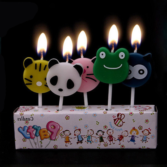 5pcs Animals Panda Cat Elephant Lion Owl Chicken Theme Kids Birthday Candle Cake Decoration Supplies
