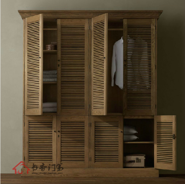 French Country Antique Furniture Is Solid Wood Wardrobe Cabinet Bedroom  Cabinet Wardrobe Cupboard With Louvered Doors Oak Stairc In Wardrobes From  Furniture ...