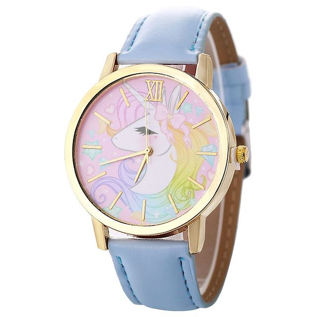 100pcs/lot NEW Cartoon Unicorn Lady Children's Watch Fashion Cute Animal Kids Girls Leather Band Analog Leather Quartz Watch