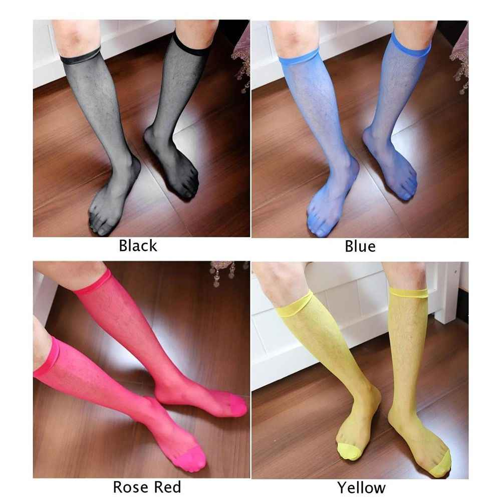 b0ccb322d ... New 1 Pair Men s Sexy Knee High Long Dress Nylon Mesh Sheer Socks men  fashions cool ...