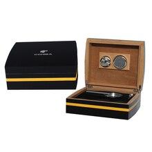 COHIBA Exquisite Luxury MirageBlack Leather decorative article Cedar Wood Cigar Humidor six-piec set