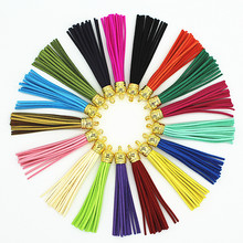 85mm Mix Color Suede Tassel For Keychain Cellphone Straps Jewelry Charms,50pcs Leather Tassels With Gold Caps Diy Accessories(China)