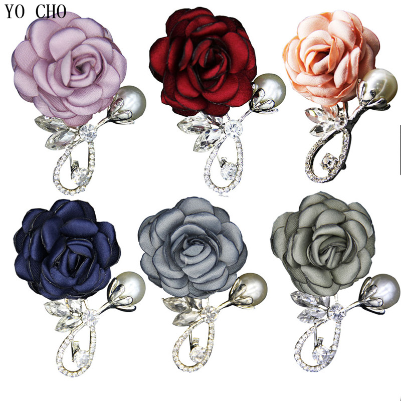 YO CHO Boutonniere Brooches For Men Women Wedding Business Meeting Party Lapel Pin Handcrafted Lapel Pin Elegant Wedding Corsage