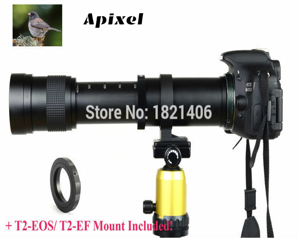 New 420-800mm F/8.3-16 Super Telephoto Lens Manual Zoom + T2 Mount Adapter for Canon Nikon Camera original for niko lens af s zoom nikkor 28 70 mm f 2 8d if coupl ing ring 1k641 469