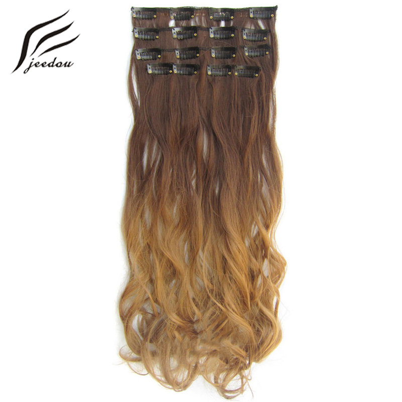 "Jeedou Wavy Hair 22 ""55cm 100g Clip en extensiones de cabello 7Pcs / set Real Natural Rainbow Ombre Color postizos sintéticos Balayage"