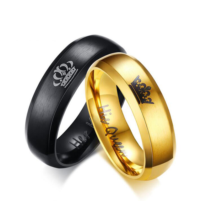 Lovers' Ring Black Gold Color Couple Ring Stainless Steel Wedding Alliance Crown