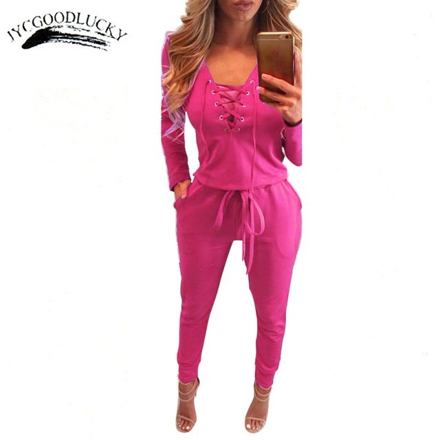 Casual Spring Long Rompers Womens Jumpsuit Drawstring Romper Loose Bandage V-Neck Fashion Jumpsuits For Women Large Size Playsui