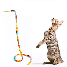 Pet Cat Toys Rainbow Stripe Cloth Leopard Tease Cats Rod Interactive Toys for Cats Interesting Gift for Pet Cats Pet Supplies(China)