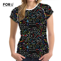 FORUDESIGNS Black 3D Math Formula Women Casual T Shirt Brand Clothing Women Short Sleeved Breathable Tshirt