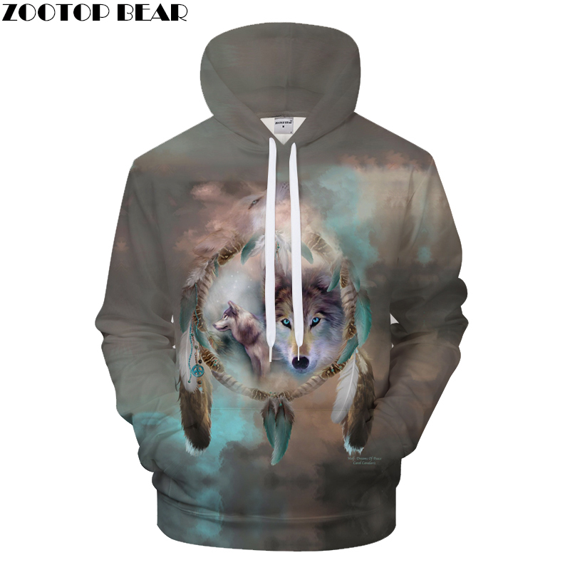 Feather Wolf Men Women Hoodies Print Sweatshirts Casual Hoody 3D Tracksuit Harajuku Coat Hooded Pullover Drop Ship ZOOTOPBEAR