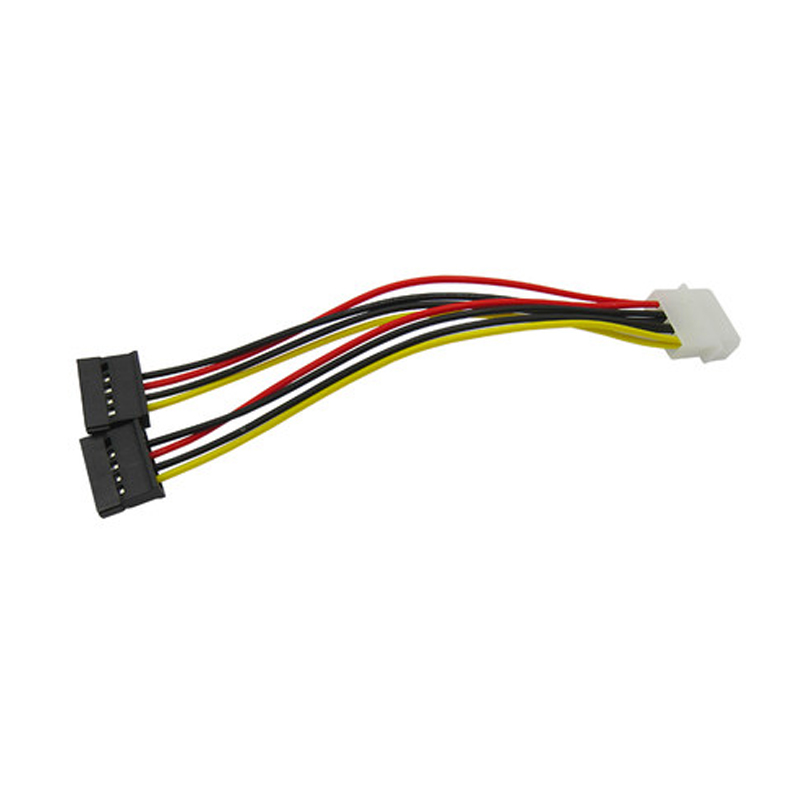 4pcs IDE to SATA Power Cable Serial ATA SATA 4 Pin IDE Molex to 2 of 15 Pin double HDD Power Adapter Cable sata 15 pin to type d 4 pin ide serial power cable multicolored 15cm 2 pcs