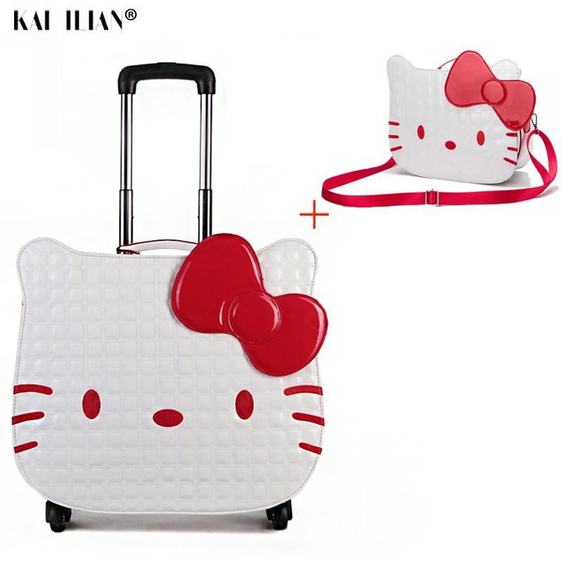 NEW 18 kids Hello Kitty luggage set children cute rolling luggage 14 cosmetic bag girls cabin travel trolley suitcase wheelsNEW 18 kids Hello Kitty luggage set children cute rolling luggage 14 cosmetic bag girls cabin travel trolley suitcase wheels