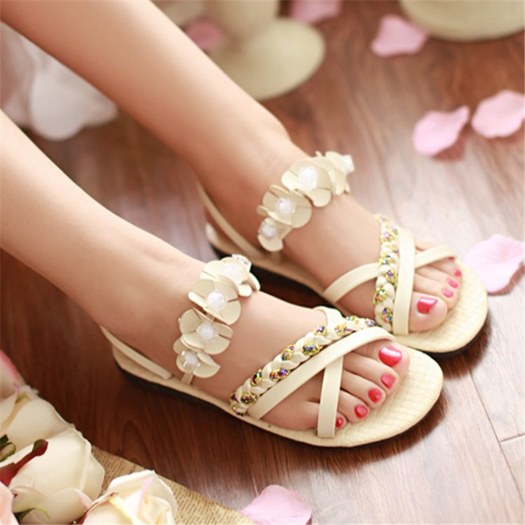 42d3a5dc56d7b2 Akexiya Ladies Flat Sandals Cute Flower Sequin Flats Twist Braid Shoes  Women Comfort Back Strap Footwear Shoes Size 35 43 PD002-in Women s Sandals  from ...