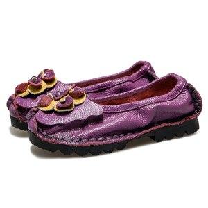 Image 5 - أحذية مسطحة من الجلد الطبيعي الناعم من GKTINOO 2020 للنساء أحذية بدون كعب مزخرفة بالزهور للنساء أحذية بدون كعب للنساء
