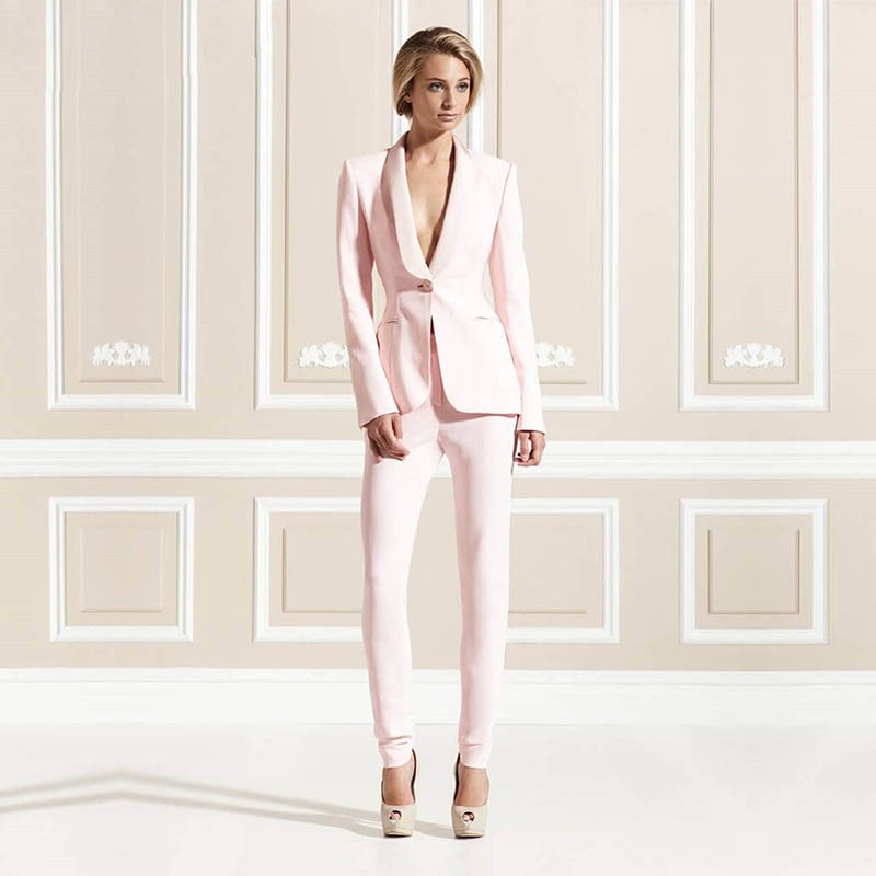 Hot Sale Jacket Pants Pink Women Business Suits Formal Office