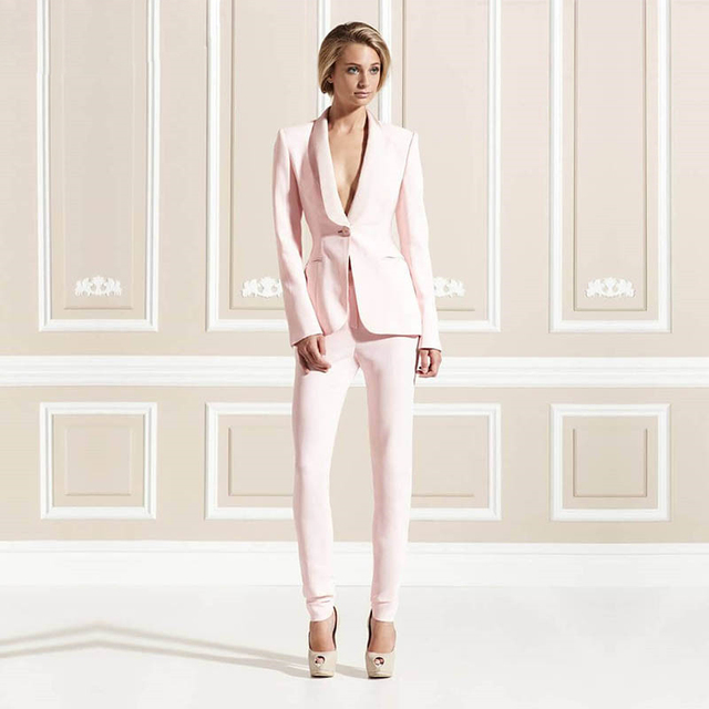 Jacket+Pants Pink Women Business Suits Formal Office Uniform 2 Piece Sets Ladies Elegant Pant Suits Female Trouser Suit Custom