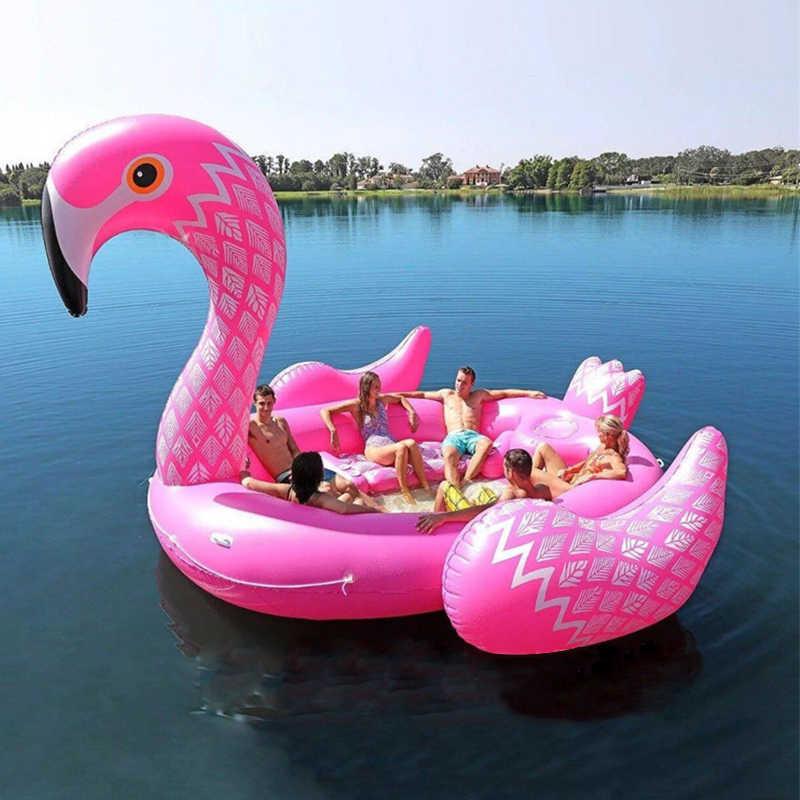 Гигантская надувной фламинго плавательный бассейн плот надувная езда-ons озеро остров водные игрушки веселье 6 7 взрослых детская вечеринка игрушка
