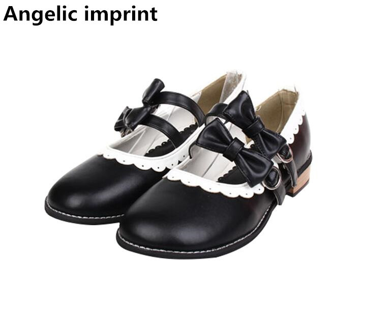 Angelic imprint japan woman mori girl lolita cosplay shoes lady low heels pumps women princess dress