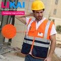 Personalizado chaleco de alta visibilidad chaleco de seguridad chaleco de seguridad vial de La Construcción de malla reflectante chaleco imprimir insignia libre del envío