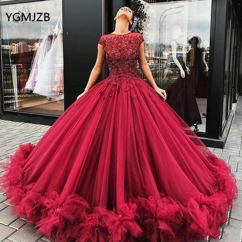 Wine Red Tulle   Prom     Dress   2019 Puffy Ball Gown Beads Crystal Arabic Dubai Women Long Formal   Dress   Evening Gown Vestidos De Gala