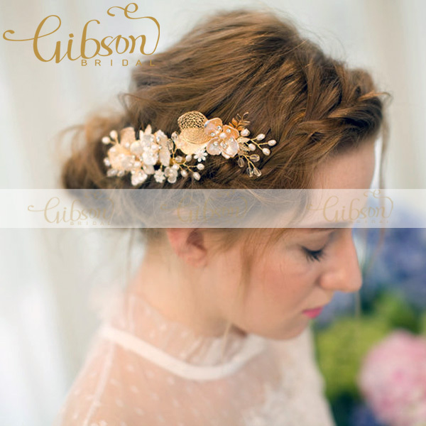 Free Shipping Europe Victoria Style Shell Flowers and Freshwater Pearls Wedding Hair Clip Headpieces Wedding Jewellery