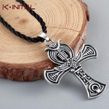 Kinitial Egyptian Ankh Cross Pendant Necklace for Woman Girl Man Gift Antique Silver Viking Necklaces Choker Jewelry collares(China)