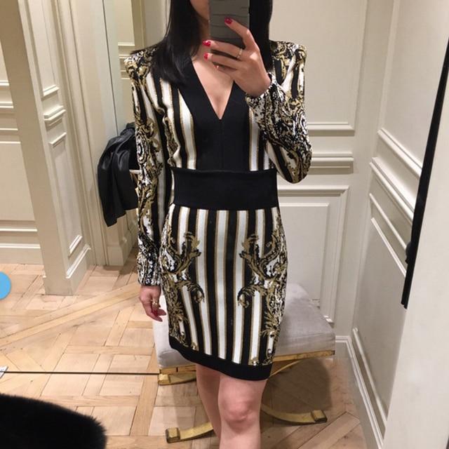 HIGH QUALITY New 2018 Designer Runway Dress Women s Long Sleeve V-neck  Baroque Striped Pattern Bodycon Dress a07676093f80