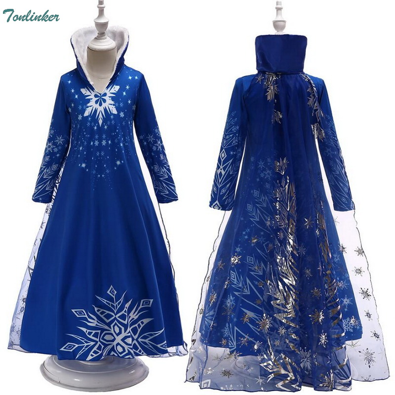 Christmas Girls Snow Queen Elsa Dress Up Costumes Children Snowflake Hooded Princess Cosplay Dresses 3-10 Years Blue Winter