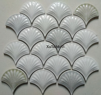 white convex fish scale ceramic mosaic tile kitchen backsplash bathroom wallpaper pool wall tiles shower porcelain decoration