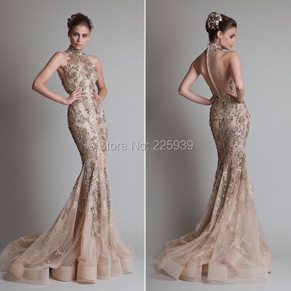 407d50460fc3 Krikor Jabotian High Neck Golden Appliques Buttons Back Mermaid Evening  Dresses Couture Beautiful Evening Gowns Sparkly