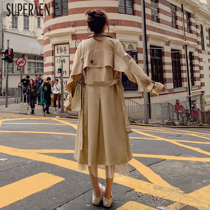 SuperAen Lapel Double-breasted Windbreaker Female Autumn and Spring New 2019   Trench   Coat for Women Cotton Wild Women Clothing