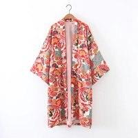 Spring Autumn Vintage Women Floral Printed Kimono Cardigans Blouses Ladies Casual Open Stitch Loose Outerwear Plus