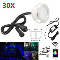 30X WIFI Controlled Timer 45mm 12V RGB RGBW Yard Terrace LED Deck Stair Soffit Step Lights for Alexa Googlehome IFTTT Phone App