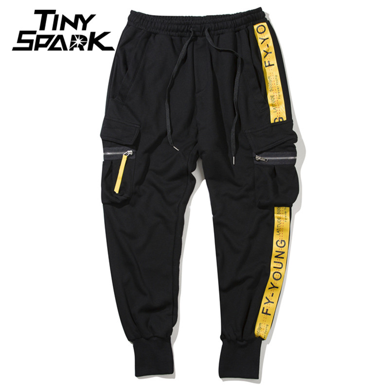 Men Hip Hop Joggers Sweatpant Yellow Ribbon Side Striped Pants Men 100 Cotton Sweat Pant Tactical Pocket Streetwear Harajuku New