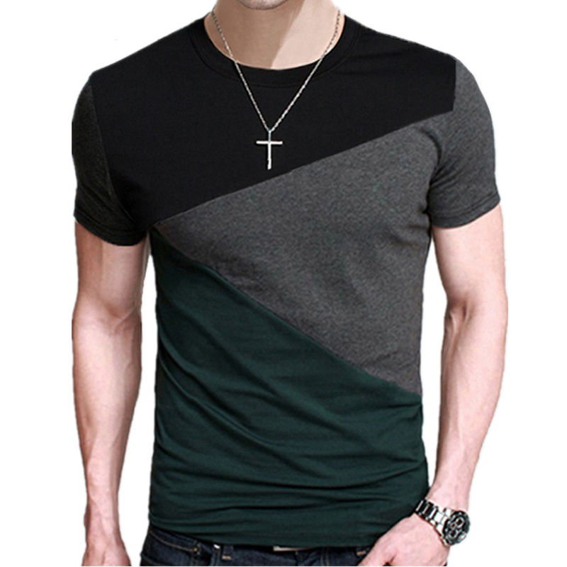 5XL 2019 Spring Summer 100% Cotton Round Collar   T     Shirt   Men Short Sleeve   T  -  Shirt   Contrast Color Fitness Slim Fit Casual Tshirts